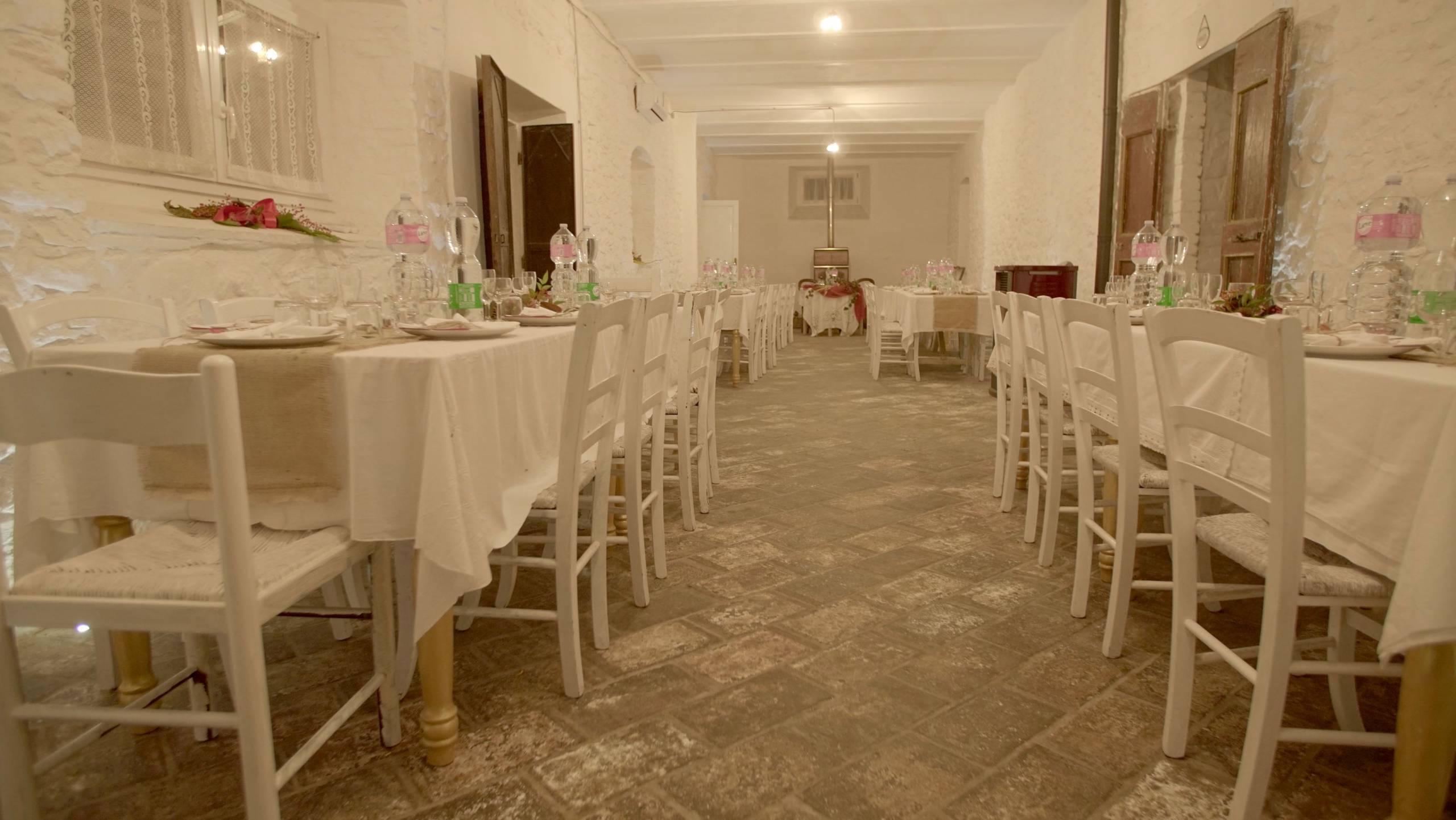 foto della sala addobata per una cena